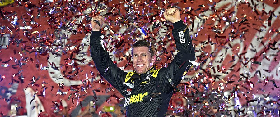 21-24 May, 2015, Concord, North Carolina USA Carl Edwards, Subway Toyota Camry celebrates in victory lane after winning ©2015, Jennifer Coleman NKP